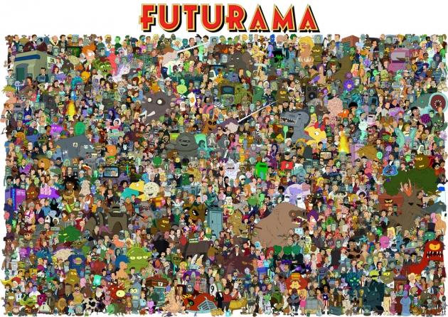 Гигантский постер со всеми персонажами FUTURAMA